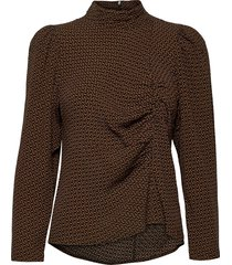 elaygz blouse ma20 blouses short-sleeved bruin gestuz