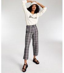 dickies plaid crop roll-hem pants