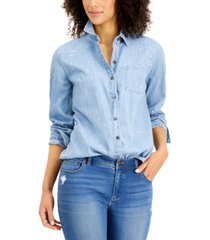 style & co plus size splatter-paint chambray shirt, created for macy's