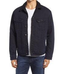 men's lee 101 usa fleece lined denim jacket, size xx-large - blue