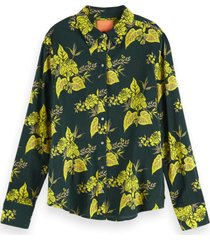 scotch & soda 156032 0217 fitted cotton viscose shirt combo a groen
