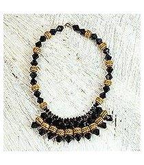 recycled plastic waterfall necklace, 'humble heshibaa' (ghana)