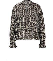 print blouse met trekkoord marlie  zwart