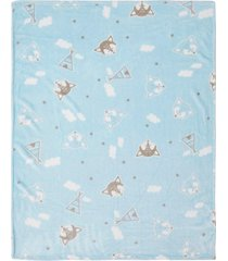 cobertor papi microfibra raposa azul - kanui