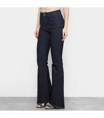 calça jeans coca cola flare feminina