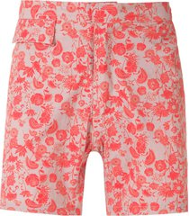 amir slama floral tactel shorts - red