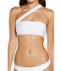 jade swim halo one shoulder bikini top, size medium in white at nordstrom