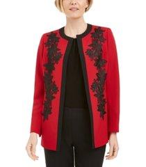 kasper lace-trim open-front jacket