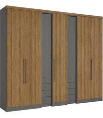 guarda-roupa 7 portas thb absolut plus 5516, grafite e almendra