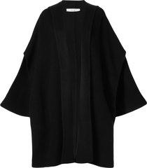 seya. hooded knit cape - black
