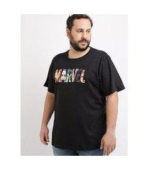 camiseta masculina plus size marvel os vingadores manga curta gola careca preta