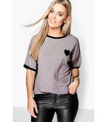 plus hartjes t-shirt met contrasterende zoom, grijs