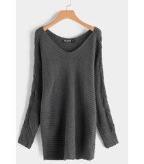 detalles de nudo gris suéteres de manga larga con cuello en v y diseño de un hombro