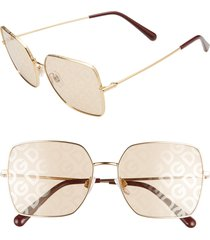 women's dolce & gabbana 57mm gradient square sunglasses - gold/ light brown tampo solid