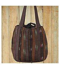 cotton shoulder bag, 'oriental dark brown' (thailand)