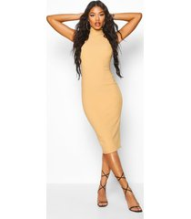 bandage rib high neck midi dress, stone