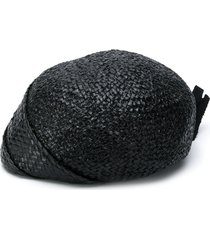 a.n.g.e.l.o. vintage cult 1950s woven raffia hat - black