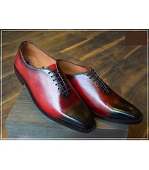 oxford burgundy two tone shoes, handmade leather formal dress shoes for men