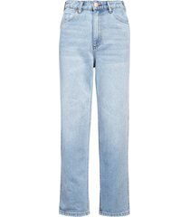 billabong x wrangler cheeky eco cotton high waist straight leg jeans, size 29 in blue surf at nordstrom