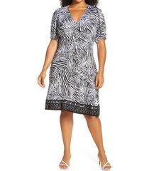 plus size women's michael kors mix animal print dress, size 3x - white