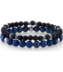 he rocks lapis stone and black lava bead double bracelet with stainless steel beads, 8.5""