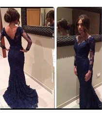 mermaid fish tail navy blue v-neck long sleeves lace prom dress party dresses
