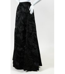 metallic black leaf print evening maxi skirt
