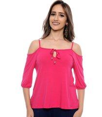 blusa b'bonnie ombro vazado jordana rosa