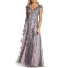 women's la femme embellished mesh a-line gown