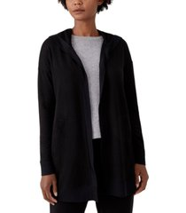 eileen fisher hooded open-front jacket
