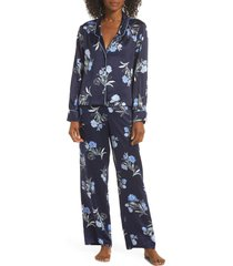 women's splendid satin pajamas, size medium - blue