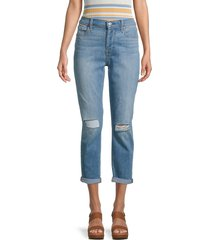 7 for all mankind women's josefina ripped cropped jeans - bright palm - size 29 (6-8)