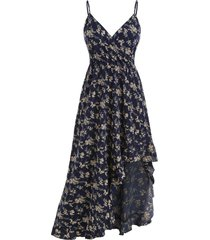 floral flounce asymmetrical surplice cami dress