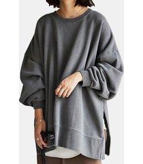 camicetta casual da donna a maniche lunghe con fessura tinta unita
