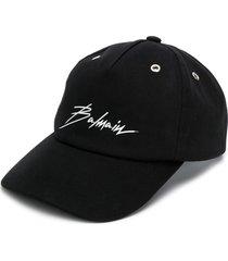 balmain logo printed cap - black