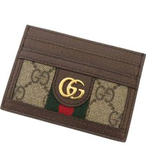 gucci gg flora ophidia card holder brown, beige, multi sz: