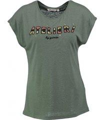 garcia soepel zacht groen shirt polyester linnen