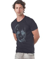 camiseta convicto estampada caveira fusionado preta - preto - masculino - algodã£o - dafiti