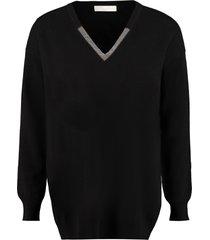 fabiana filippi cashmere-wool blend v-neck sweater
