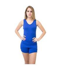 macaquinho ayron fitness saia liso azul