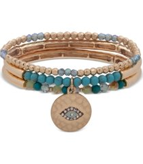lonna & lilly gold-tone 3-pc. set charm & beaded stretch bracelets