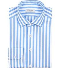 camicia da uomo su misura, grandi & rubinelli, azzurra riga larga natural stretch, quattro stagioni
