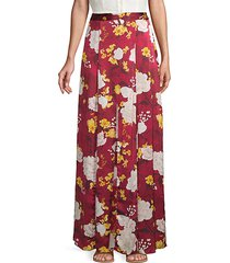 athena silk floral godet long skirt
