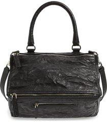 givenchy medium pepe pandora leather satchel - black