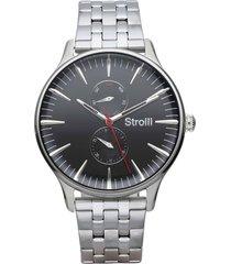 orologio multifunzione con cinturino e cassa in acciaio silver, quadrante nero per uomo