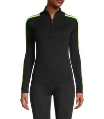 central park west women's striped knitted track jacket - black - size xs