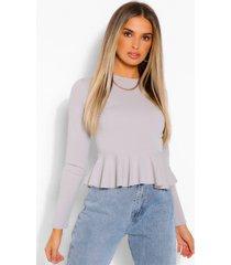 long sleeve peplum blouse, grey