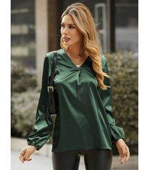 camicetta casual a maniche lunghe patchwork tinta unita per donna