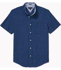 tommy hilfiger adaptive men's custom-fit porter textured shirt with magnetic buttons