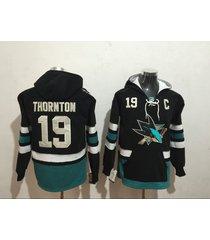 men's san jose sharks joe thornton hockey pullover hoodie jersey